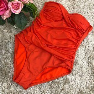 Liz Claiborne Orange Rouched One Piece Swimsuit
